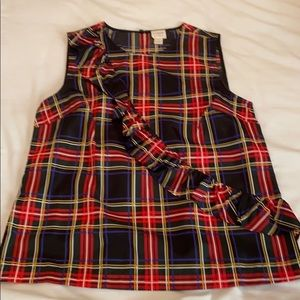 J. Crew plaid silk top sz 8